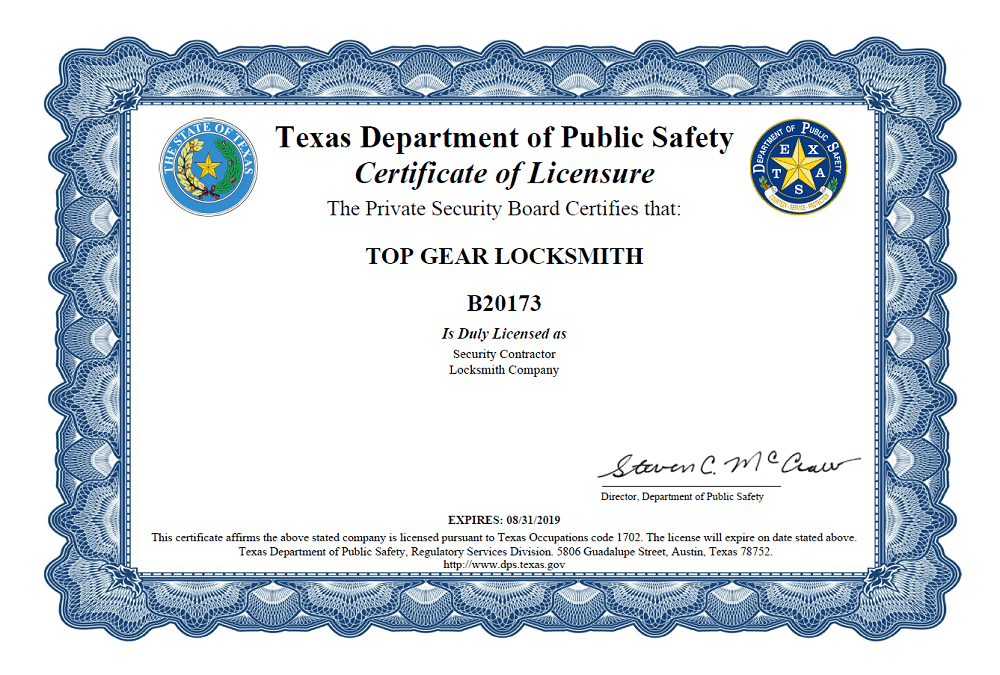 top gear locksmith new license certificate